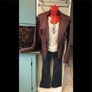 Wine 🍷 Faux Leather Jacket Maurice's sz1